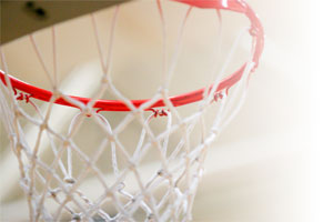 Kewauskum Youth Basketball hoop closeup